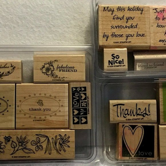 STAMPIN' UP!  15 Rubber Stamps New & Used Misc